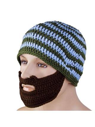 Шерстяная вязаная шапка с бородой