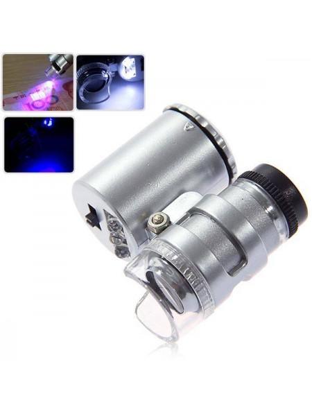 Мини микроскоп 60X с 2-LED лампой для освещения