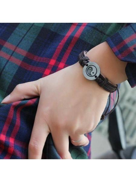 Кожаный мужской браслет Инь Янь
