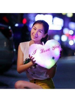 Мягкая светящиеся подушка в форме сердца