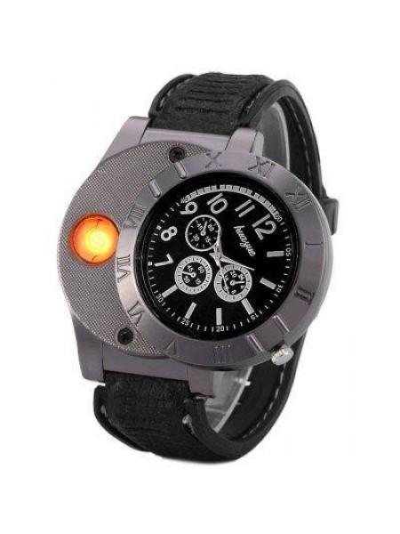 Мужские кварцевые часы с электронной зажигалкой