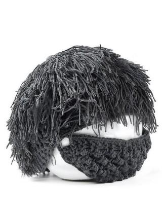 Вязаная шапка с бородой для детей и взрослых