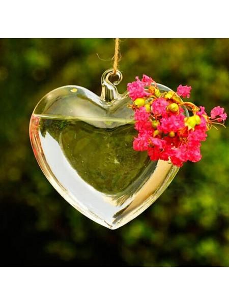 Подвесная стеклянная ваза в форме сердца
