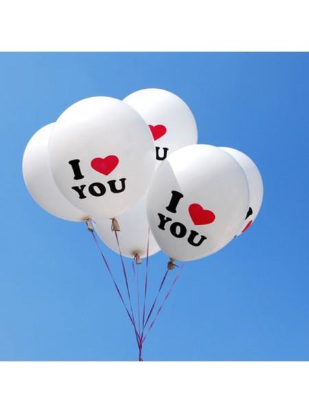Воздушные шары с надписью  I LOVE YOU (10 шт.)