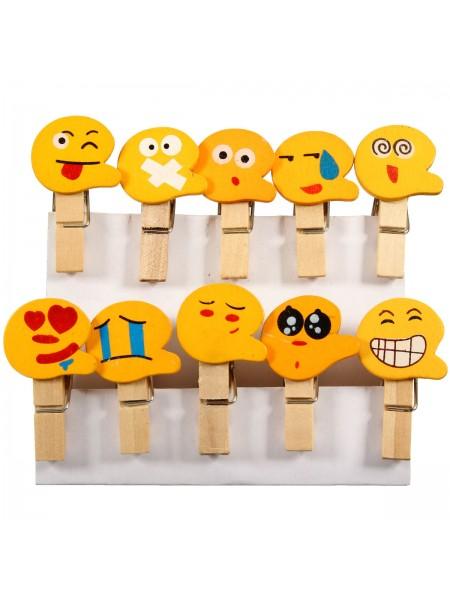 Декоративные мини прищепки Emoji Смайлики (10 шт.)