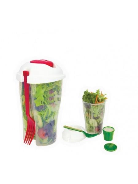 Стакан для салата с вилкой и кружечкой для приправ
