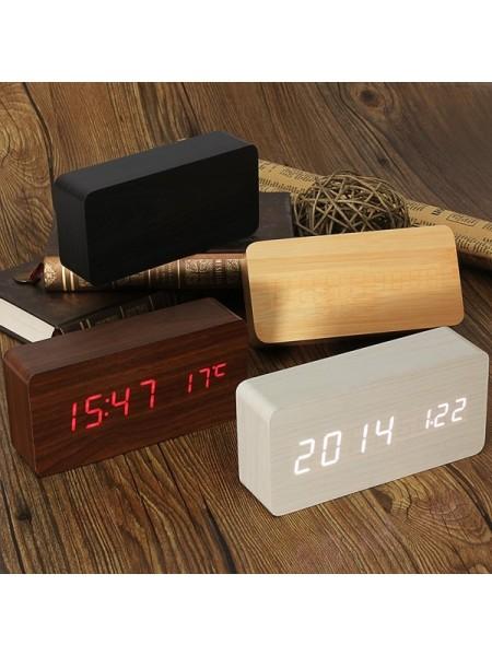 Деревянный цифровой будильник с термометром