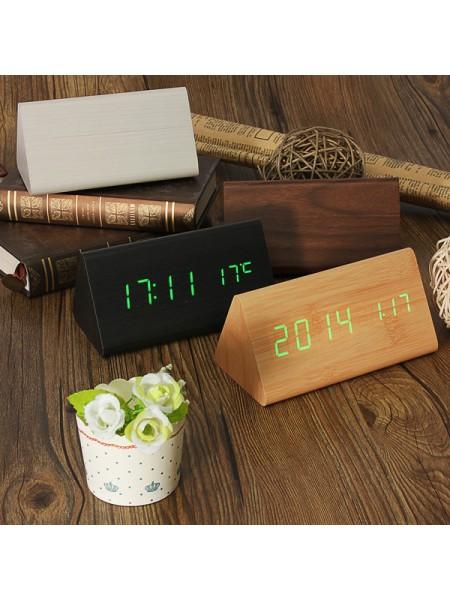 Деревянный треугольный будильник с термометром