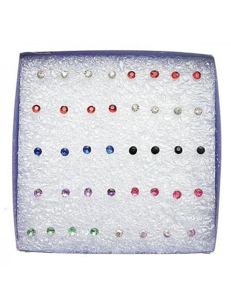 Кристальные разноцветные запонки (20 пар)