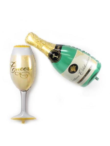 Надувная бутылка шампанского с бокалом