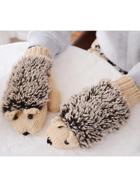 Теплые мягкие вязанные «Ежовые рукавицы»
