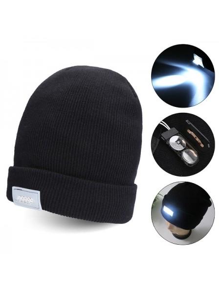 Повседневная вязанная шапка LED с фонариком