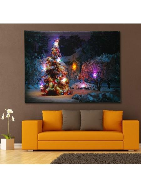 Рождественский светящийся холст с живописью для дома