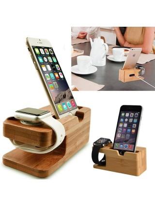 Док станция для Apple Watch из натурального бамбука