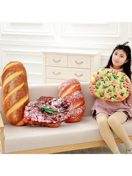 Творческие плюшевые подушки в виде хлеба и стейка