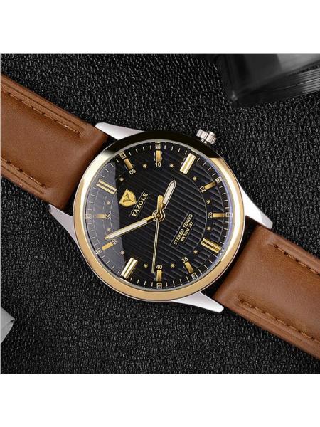 Мужские наручные часы YAZOLE 357 с кожаным ремешком