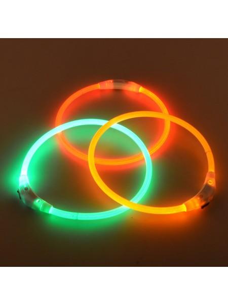 Аккумуляторный светящийся ошейник для собак (50 см)