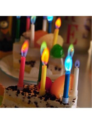 Свечи для торта с разноцветным пламенем (6 шт.)