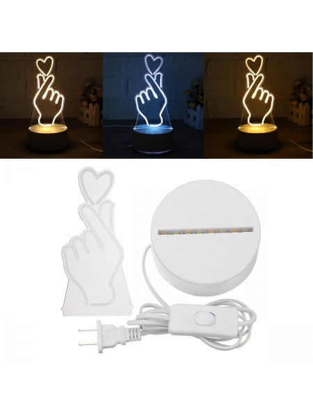 Настольная 3D лампа Love Heart Gesture