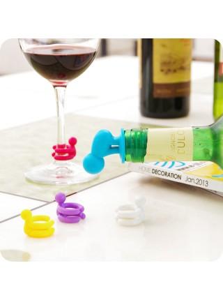 Набор для вина цветные человечки (пробка, фигурки на бокалы)