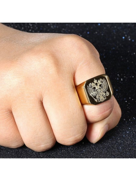 Кольцо печатка с гербом России