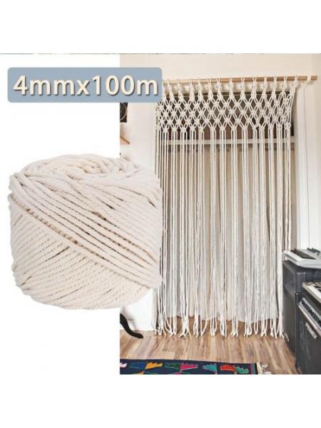 Натуральная хлопковая бежевая нить (4мм x 100м)