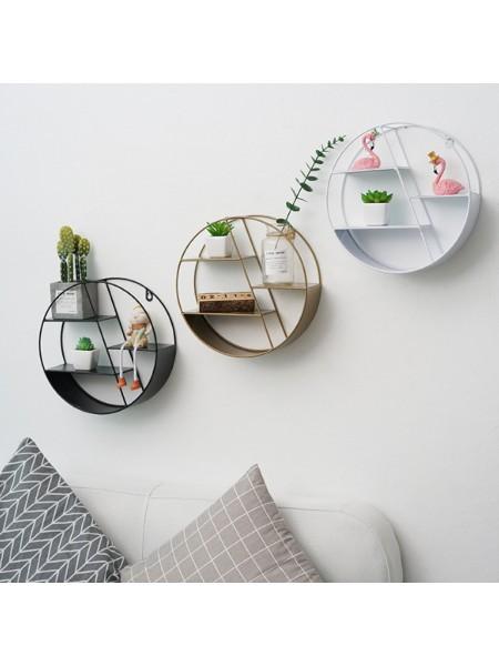 Настенная железная круглая полка стеллаж для декоративных украшений