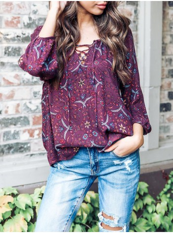 Женская повседневная блузка с длинным рукавом и V-образным вырезом