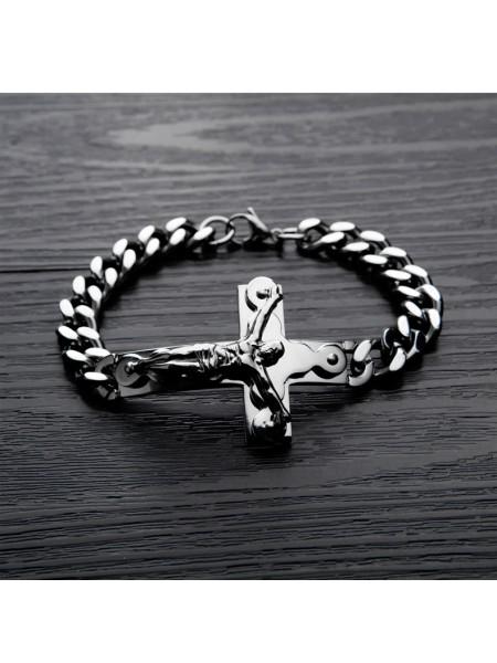 Мужской браслет из стали с крестом Иисуса