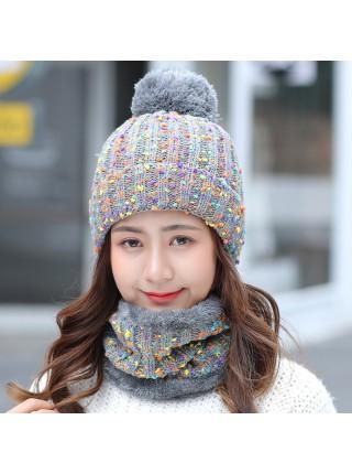 Теплая зимняя шерстяная шапка с воротником
