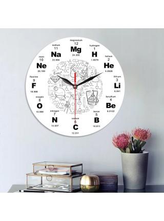 Настенные часы с химическими элементами оформления