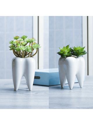 Керамический цветочный горшок в форме зуба