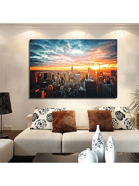 Шелковый плакат вечерний закат Нью-Йорка