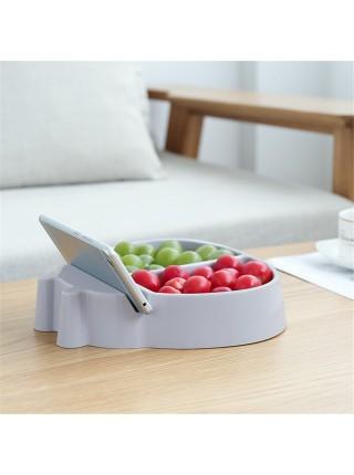 Двойная тарелка для семечек и орехов с держателем для телефона