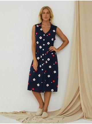 Винтажное платье миди с v-образным вырезом без рукавов