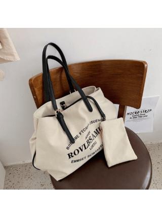 Большая вместительная женская сумка с буквенным принтом