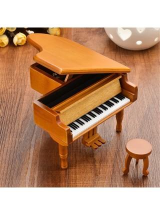 Деревянная классическая музыкальная шкатулка рояль