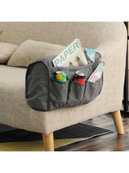 Накидка с карманами из льна для подлокотника дивана (2 шт.)