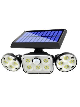 Настенный солнечный светильник 78 LED с 3 головками