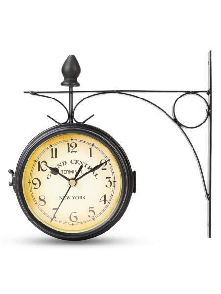 Античные станционные двухсторонние настенные часы