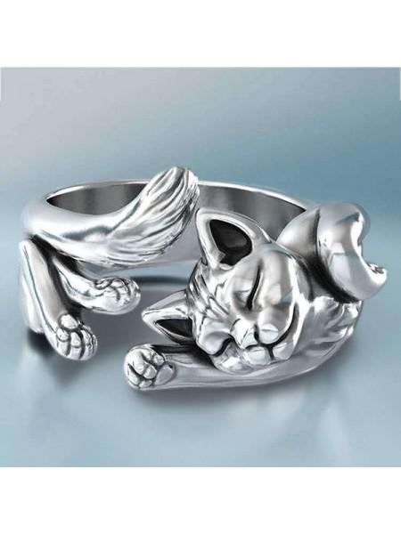 Серебренное кольца с кошкой