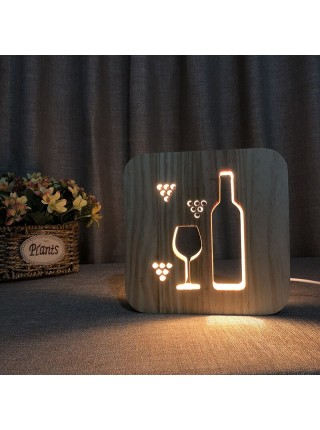 Деревянный 3D ночник светильник чашка кофе