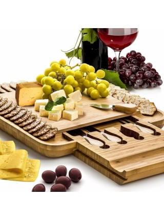 Бамбуковая доска для сыра со столовыми приборами