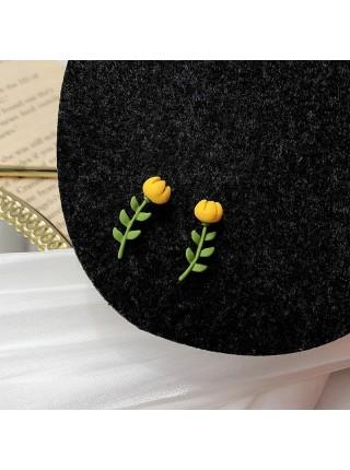 Женские серьги цветок тюльпан