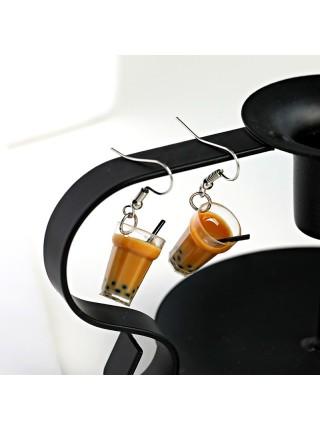 Женские серьги стаканчик кофе