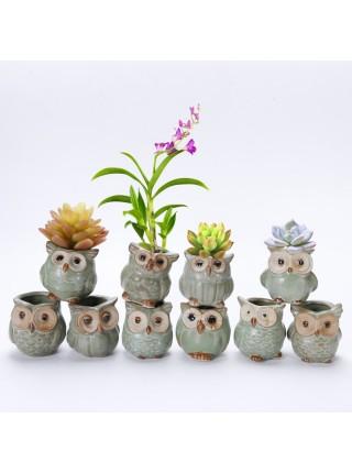 Керамические горшочки совята для цветов (5 шт.)