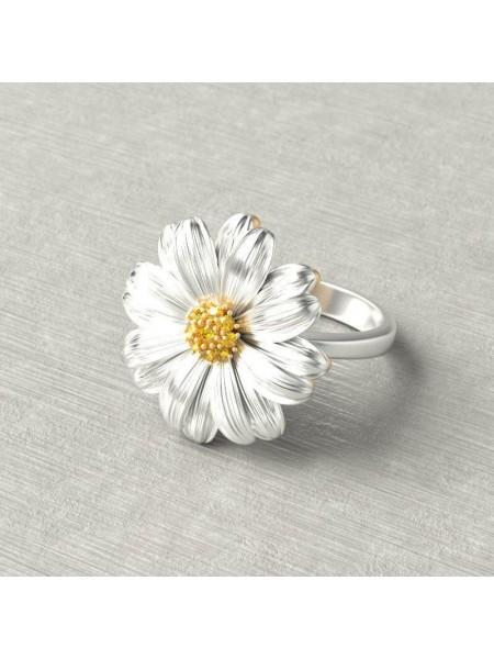 Женское кольцо ромашка