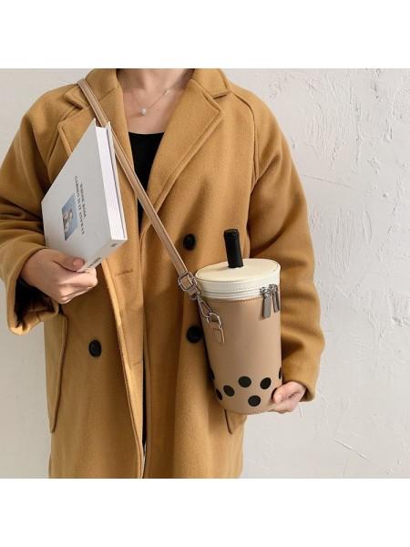 Женская кофейная сумка через плечо