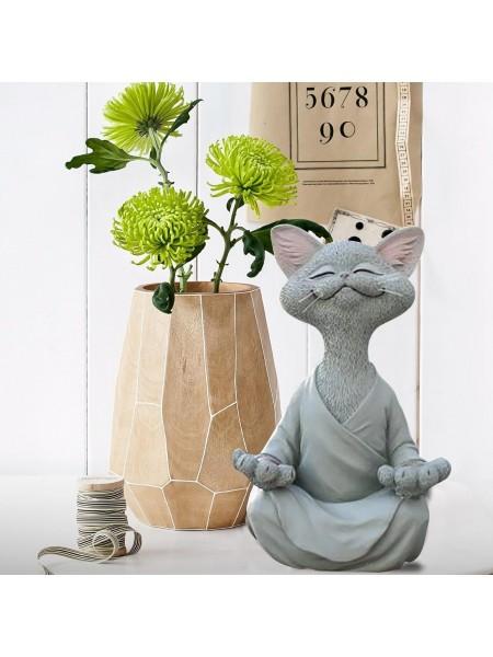 Настольная фигурка медитирующий будда кот